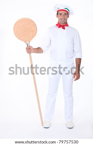 35 years old pizza cook - stock photo
