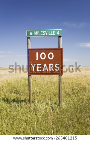 100 Years road sign to Milesville, South Dakota - stock photo