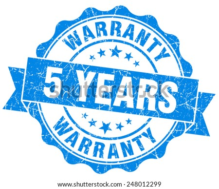 5 years warranty blue vintage isolated seal - stock photo