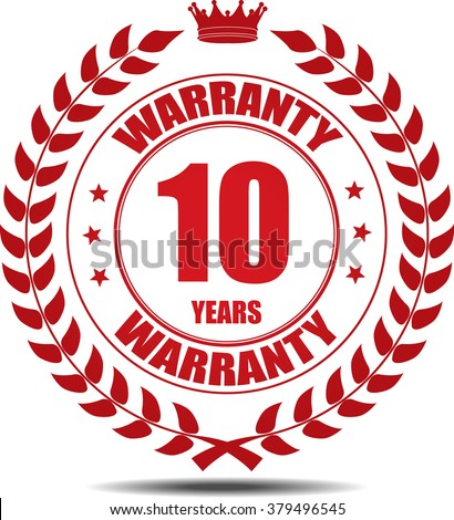 10 years warranty, Label, Sticker or Icon Isolated on White Background.