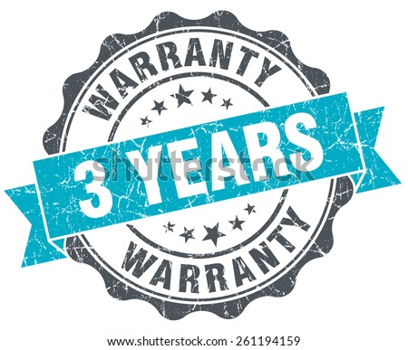 3 years warranty vintage turquoise seal isolated on white - stock photo