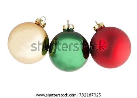 yellow green and red Christmas balls isolate