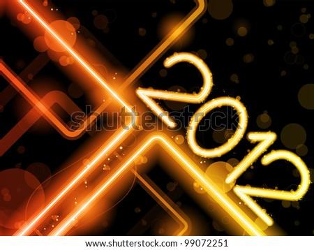 2012 Yellow  Lines Background Neon Laser - stock photo