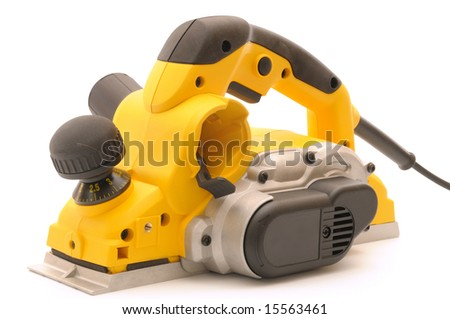 yellow planer, isolated on white background - stock photo