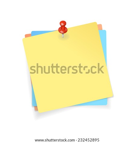 Yellow, red, blue stickers and red pin background - stock photo