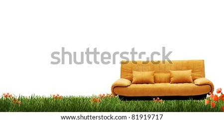 yellow sofa and green grass isolated on white background - stock photo