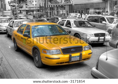 Yellow taxi - Times Square - Manhattan,New York City, United states of America - stock photo