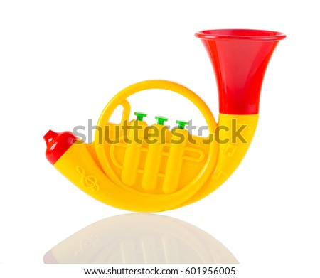 Toy trumpet stock images royalty free images vectors shutterstock yellow toy trumpet isolated on white sciox Choice Image