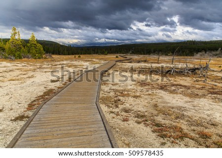 Yellowstone Footpath, A walkway winds through a geothermal field in Yellowstone, Wyoming, USA.