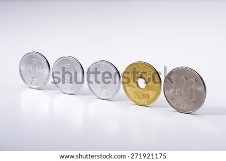 1 yen and 5 yen and 100 yen coins, Currency of Japan - stock photo