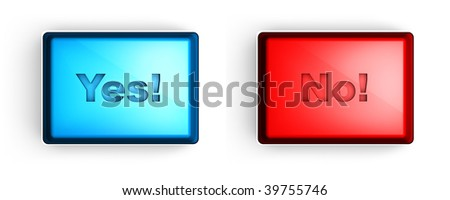 """""""yes"""" and """"no"""" buttons - stock photo"""