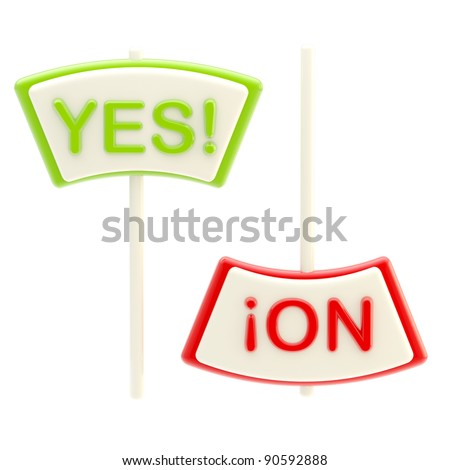 """Yes"" and ""No"" plates isolated on white"