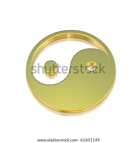 Yin Ying - Golden simbol isolated on white - stock photo