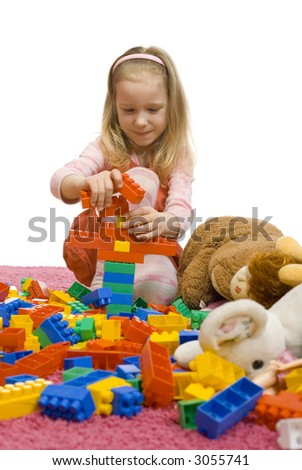 5-6yo girl with her toys on the floor. There's huge mess. (All toys are carefully selected. There's only Chinese cheap no-name toys and blocks)