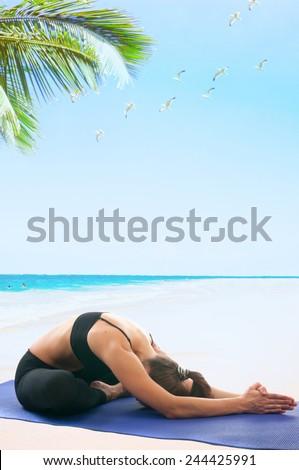 Yoga seria: Yoga Mudra, Yoga Mudrasana, Yoga Mudrasan, Yoga Mudra Asana, Yoga Mudra Asan is an asana - stock photo