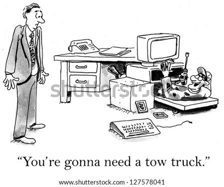 """""""You're gonna need a tow truck."""" mechanic under computer. - stock photo"""