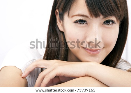 Young and beautiful asian woman with smiling - stock photo