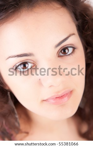 Young and beautiful brunette portrait - isolated