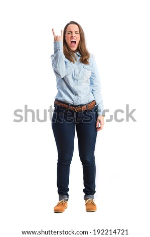 young angry woman. isolated - stock photo