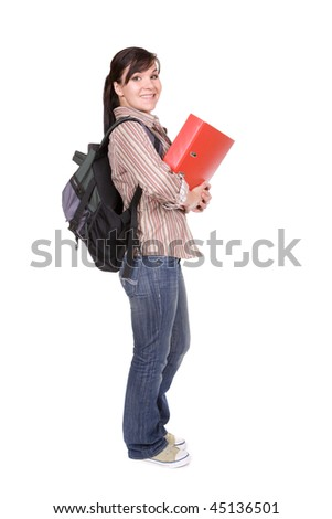 young attractive  student. over white background - stock photo