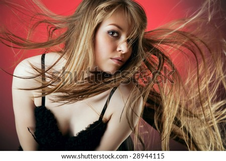 young beautiful woman studio picture