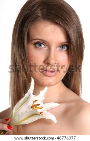 young beautiful woman with Lily flower