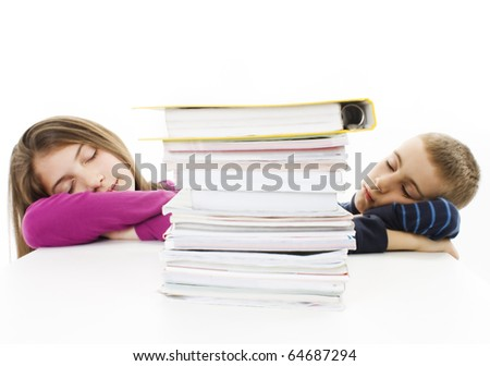 Young boy and teenage girl fell asleep after hard learning