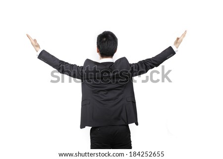 Young business man turning on back with arms outstretched