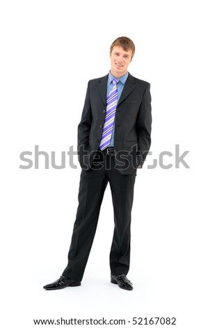 Young businessman standing against isolated white background - stock photo