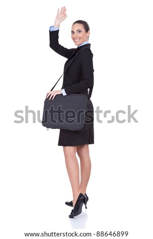 young businesswoman with suitcase going on trip, concept-business travel, isolated on white background