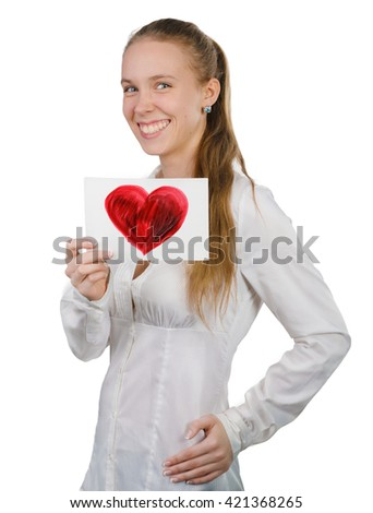 Young casual professional businesswoman showing white sign with love symbol. Portrait of young professional caucasian female model isolated on white background. - stock photo
