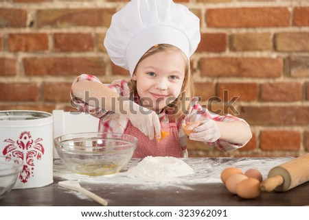 young chefs, baking a cake