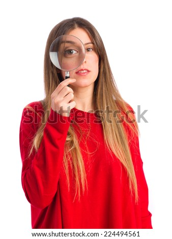 young cool girl with a magnifier