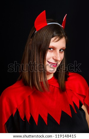 young devil woman - stock photo