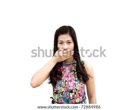 Young girl hold  hand crossed on mouth to stop her to speak isolated on white background - stock photo
