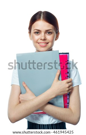 young girl with folders