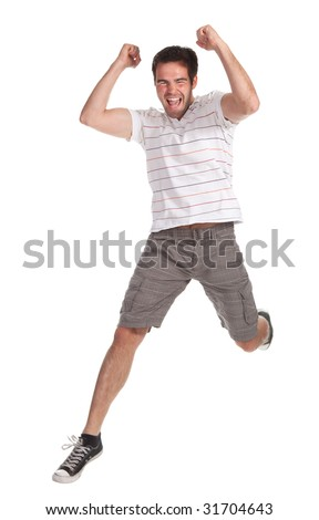 young happy man jumping on a white background - stock photo