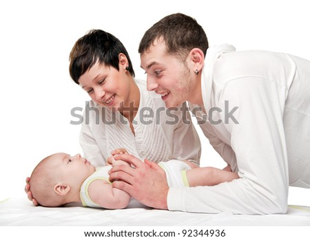 Portrait Happy Family Lying On Bed Stock Photo 212656069 ...