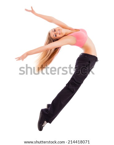 Young happy woman jumping high isolated on white. - stock photo