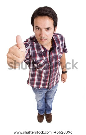 young man going thumb up