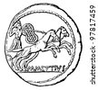 """Young man in a chariot, denarius of Julius Caesar, Master Mettius, 44 BC - an illustration to articke """"Coins"""" of the encyclopedia publishers Education, St. Petersburg, Russian Empire, 1896 - stock photo"""