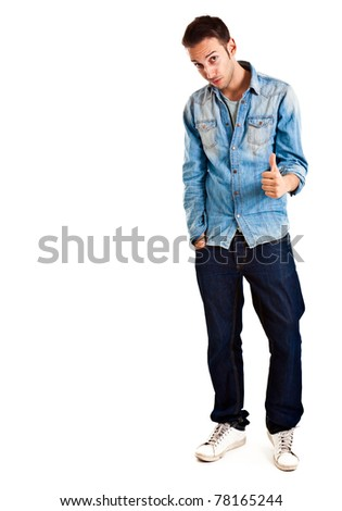 Young man isolated on white full length - stock photo
