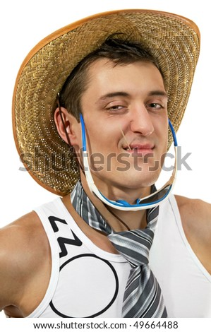 Young man wearing a hat with tie in sunglasses - stock photo