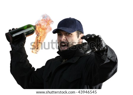 Young man with a molotov cocktail
