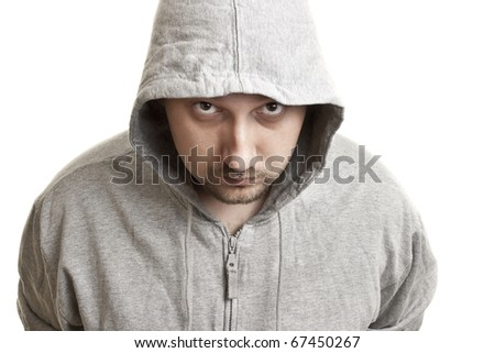 young man with  beard and mustache  in a hood - stock photo