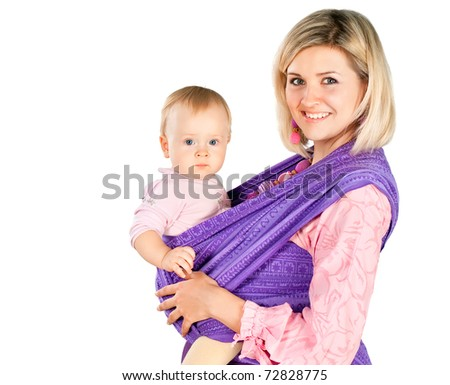 young mother with baby in sling  isolated on white background - stock photo