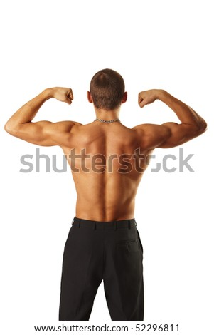 Young muscular man showing his biceps isolated over white - stock photo