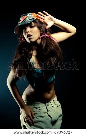 young nice girl dancing modern dances - stock photo
