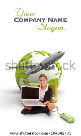 Young schoolgirl with a laptop, a pile of luggage and the Earth on the background  - stock photo