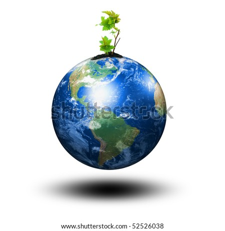 young sprout and our planet Earth - stock photo